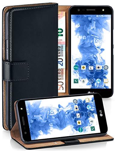 moex® Booklet mit Flip Funktion [360 Grad Voll-Schutz] für LG X Power 2 | Geldfach & Kartenfach + Stand-Funktion & Magnet-Verschluss, Schwarz