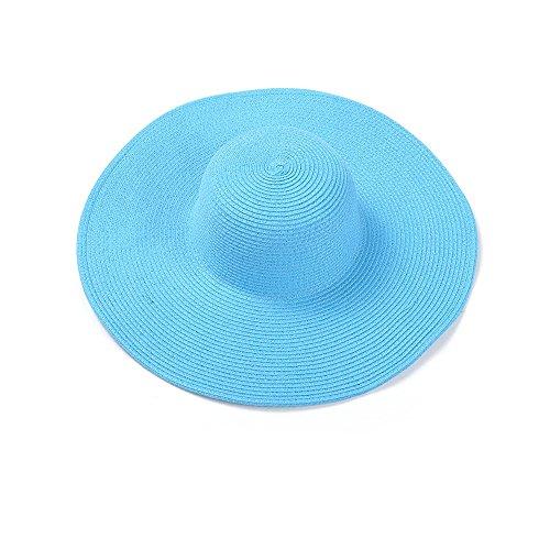 qz Chapeau de Soleil Paternity Chapeau de soleil pliable Hat de plage Chapeau de plage ( Couleur : Pastèque rouge , taille : Adult ) Bleu clair