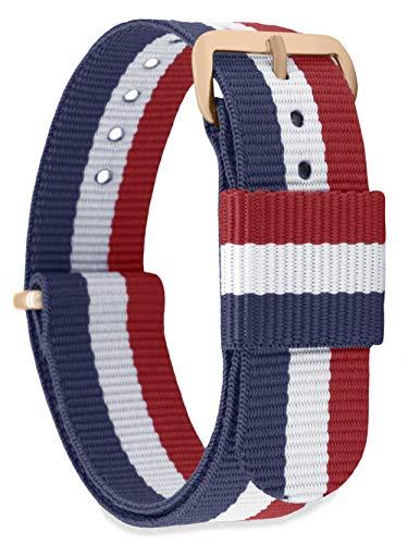 MOMENTO Damen Herren NATO Nylon Ersatz Uhren-Armband Strap mit Edelstahl-Schliesse in Rose-Gold und Nylon-Armband in Blau Weiss Rot 14mm