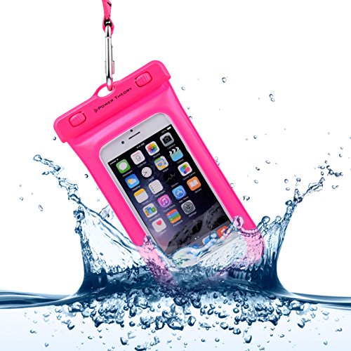 Power Theory Wasserfeste Handyhülle - Wasserdichte Handytasche Handyschutz Cover Beutel Beachbag Tasche Handy Hülle Waterproof Case - iPhone X 8 7 6s SE Samsung S9 S8 S7 Edge Handys bis 6 Zoll (Pink)
