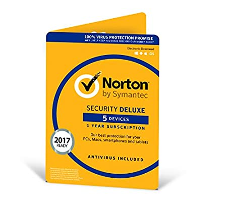Norton Security Deluxe (Including Antivirus) 3.0 - 1 User, 5 Devices, 12 Months License Card (PC/Mac/iOS/Android)