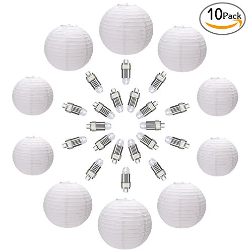 Shiney 10 Packs Weiße Papier Laterne Lampion Rund Lampenschirm mit 20 Packs White LED Party Lichter für Hochtzeit Party Dekoration Ballform 12 Inch