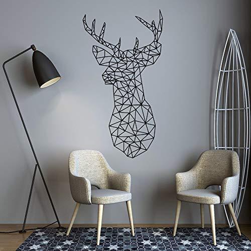 ljradj Geometria Artistica Cervo Sika Wall Art Decal Decorazione Moda Adesivi per Soggiorno Decorazione Ufficio Adesivo Giallo XL 58cm X 107 cm