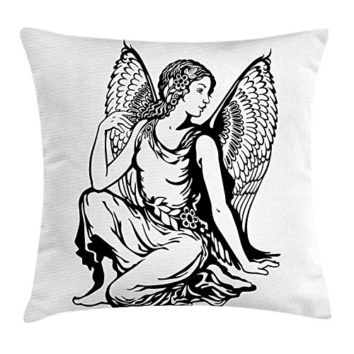 XIAOYI Zodiac Virgo Throw Pillow Cushion Cover, Young Woman Artistic Figure with Angel Wings Monochrome Tattoo Art Design, Decorative Square Accent Pillow Case, 18 X 18 inches, Black and White Protector Case Angel Design