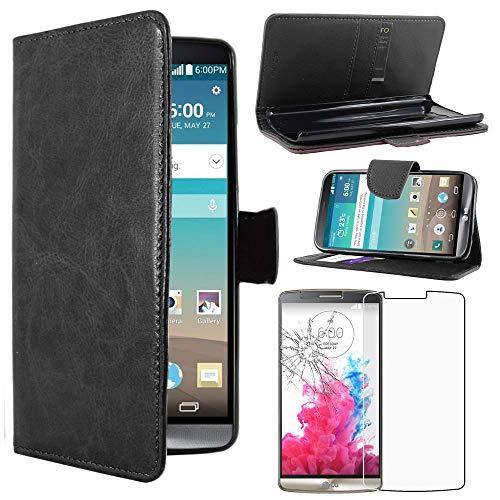 ebestStar - Funda Compatible con LG G3 D855 Carcasa Cartera Cuero PU, Funda Billetera Ranuras Tarjeta, Función Soporte, Negro +Cristal Templado Pantalla [Aparato: 145.5 x 74.6 x 9.1mm, 5.5'']