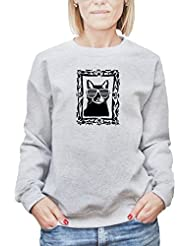 Camisa de entrenamiento para mujer con la impresión del Gato negro con gafas de sol en un marco de ilustración .