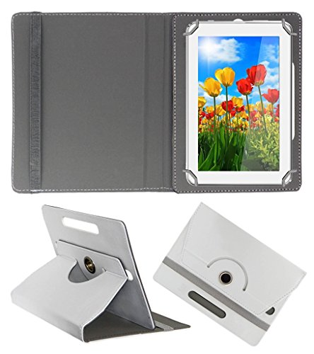 Acm Rotating 360° Leather Flip Case For Tescom 4gb 2g 7 Tablet Stand Cover Holder White  available at amazon for Rs.149
