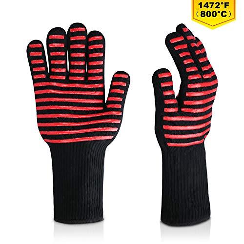 LoveFam BBQ Grillhandschuhe Hitzebeständig bis zu 800°C Premium Ofenhandschuhe Kochhandschuhe Hitzerbeständige Handschuhe für BBQ, Kochen, Backen und Schweißen