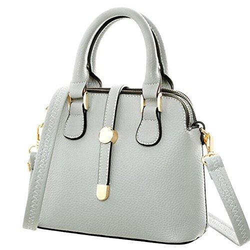 NiSeng Damen Schultertasche Vintage PU Leder Handtaschen Elegent Umhänge Tasche Grau