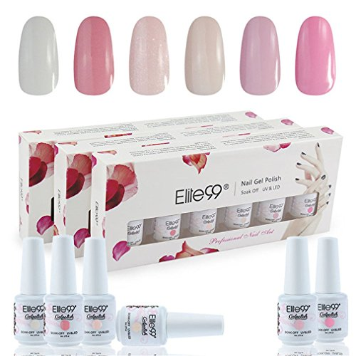 Elite99 Kit Uñas Gel Esmalte Semipermanente 6pcs