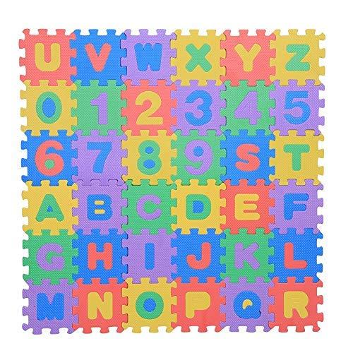 Zerodis- 36pcs schiuma morbido eva infantile gioca ai tappetini per puzzle numeri e lettere giocando crawling tampone non tossico giocattoli per bambini ragazzo ragazza compleanno natale regalo