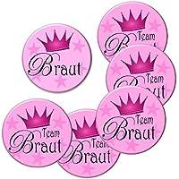 6er Set Team Braut Junggesellinnenabschied Buttons