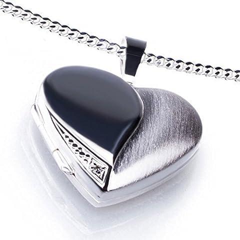 Anhänger Medaillon Herz mit 1 Zirkoniastein weiß zum öffnen 925/- Sterling Silber 20 x 20 mm, Panzerkette inkl. Gravur (ohne Gravur, 45 (Sterling Silber Diamant-medaillon)