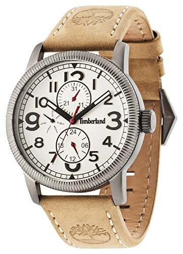 Timberland Men's Quartz Watch with Beige Dial Analogue Display and Beige Leather Strap 14812JSU/07