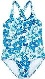 ALove Mädchen Einteiler Badeanzug Blumen Print Verstellbare Träger Blau 3-4 Jahre