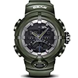 PIO Männer Sportuhren Zeiger und Digita Doppelanzeige Silikagel Strap 30 Meter Wasserdichte Uhr, Army Green