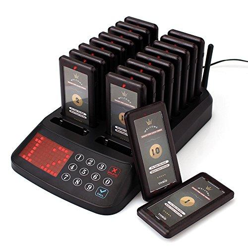 T115 Restaurant Pager Wireless Calling Queueing System 99 Kanal Wasserdichte Keypad Sender mit 18 Wiederaufladbare Pager für Kunden in Restaurants Krankenhäuser Kirchen Coffee Shops Snack Bar Pager-system