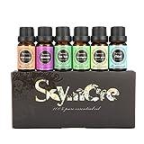 Skymore Ätherische Öle Set-6 verschiedene Duftrichtungen (Zitronengras, Lavendel, Teebaum, Eukalyptus, Orange, Minze)-Entspannung und Kurren-100% Pur Aromatherapie Öle in einem Geschenkset 6X10 ml