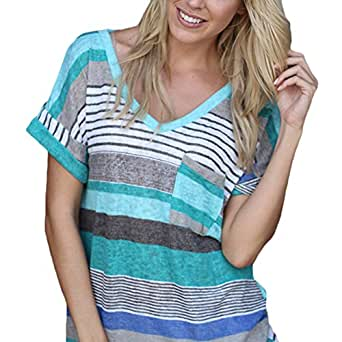 Women Colourful Striped Summer Short Sleeve V-Neck Blouse Tops Shirt Blue S