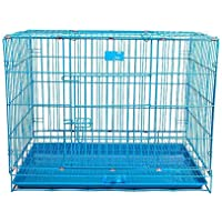 """AQUAPETZWORLD Large 42"""" Foldable Iron Cage Double Door One Front and one Above with 2 Tray for Dogs and Other Animals…"""