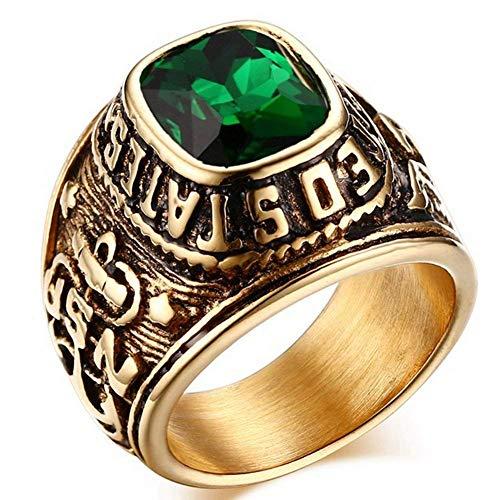 XBYN Weinlese gotische Edelstahl Ring Gold Black Eagle Anker Männer Geschnitzte Created Gemstone USN Militär Matrose Ringe, 8 11