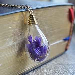 Lila Vergissmeinnicht Echte Blume In Wasser Tropfen Glas 18K Vergoldet Lange Halsketten mit Anhänger
