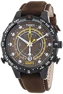 Timex - T2P141 - Montre Homme - Quartz Analogique - Eclairage/Chronomètre - Bracelet Cuir Marron