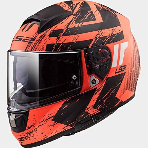 LS2-FF397-VETTORE-FT2-CACCIATORE-Bluetooth-Pronto-Non-incluso-Doppia-Visiera-Casco-moto-Integrale-Integrali-Arancia-Opaco-Nero
