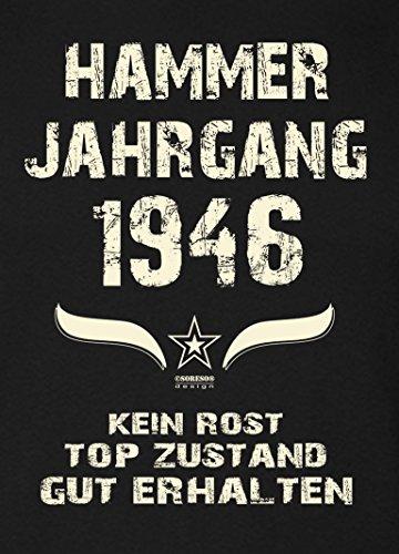 Damen Motiv T-Shirt :-: Geburtstagsgeschenk Geschenkidee für Frauen zum 71. Geburtstag :-: Hammer Jahrgang 1946 :-: Girlie kurzarm Shirt mit Geburtstags-Aufdruck :-: Farbe: schwarz Schwarz