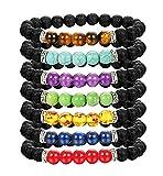Adramata 7 Chakra Bead Armband für Herren Damen Yoga Tigerauge Lavastein Armband Set Elastizität Mala Armband