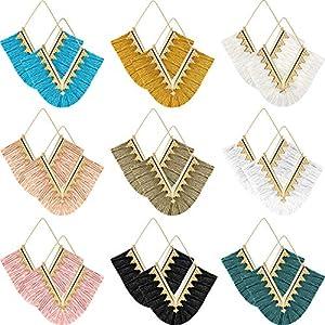 9 Paare Quaste Ohrringe Fringe Baumeln Ohrringe geometrische Fransen Ohrringe für Frauen Mädchen