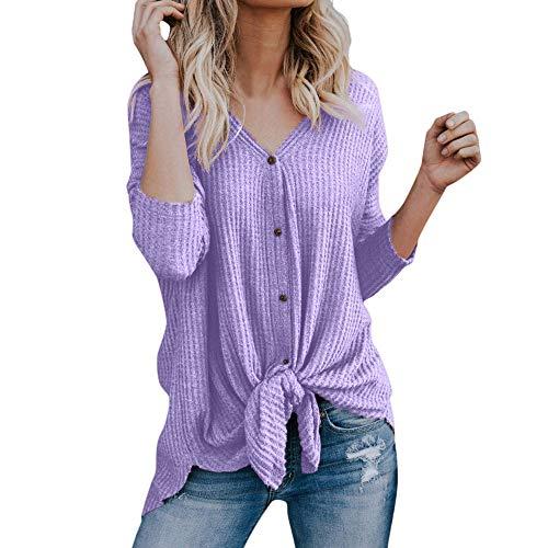 Zegeey Damen Langarmshirts T-Shirt Einfarbig V-Ausschnitt ÜBergrößE Lose Bluse Hemd SchaltfläChen Pulli Strickwaren Strickjacke Shirt Mit Hemd Grundiert Stretch Oberteil Tops ()