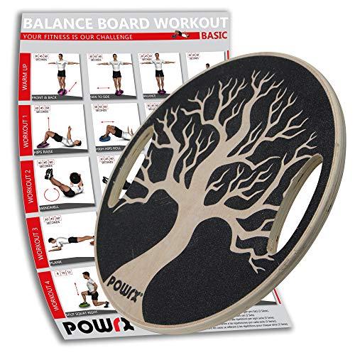 POWRX Balance Board mit Griffen Wackelbrett aus Holz für propriozeptives Training inkl. Workout I Physiotherapie Therapiekreisel Ø 40cm