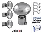 JAKABA Premium Quality Silver Finish Stainless Steel and Alloy Curtain Finials with Heavy Supports - PACK of 8 Pcs. (Finials : 4 Pcs + Supports : 4 Pcs) : Curtain Brackets Set / Holders for Window / Door - JKB100302