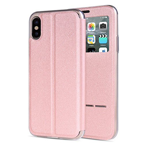 """MOONCASE iPhone X Flip Cover, [Window View Style] PU Cuir Étuis Case Built-in Support TPU Antidérapant Housse de Protection pour iPhone X 5.8"""" Or Rose Or Rose"""