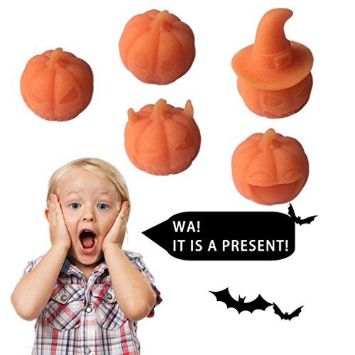 HKFV Halloween Nette Kürbis Healing Squeeze Stretch Abreact Spaß Witz Geschenk Rising Spielzeug für die Feier von Happy (Kürbis Blitzlicht Led)