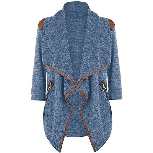 Damen Große Größe Trenchcoat Mantel, ZIYOU Mode Irregulär Strickjacke, Elegant Wintermantel Outwear Lange (Blau, 2XL)