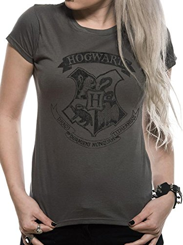 (Harry Potter Damen T-Shirt Distressed Hogwarts W, Grau, M)