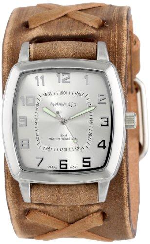Nemesis Men's BFX017S Classic Vintage Brown X Leather Cuff Band Quartz Watch