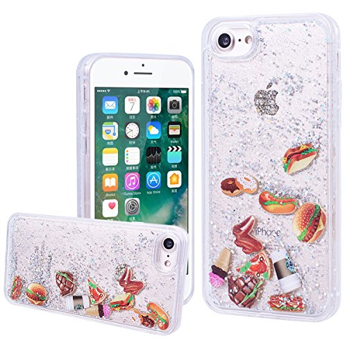 WE LOVE CASE Coque iPhone 7, Coque iPhone 7 de Protection en Hard Dur Bling Coque iPhone 7 Paillette Liquide Transparent avec Motif Antichoc Bumper Mince, Ultra Slim Original Fine Officiel Fille Femme Argent