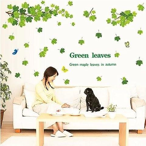Camera da letto Soggiorno semplice vaso Verde Foglia di acero adesivo parete ingresso linea di cintura Adesivi decorativi pastorale in stile Europeo, Verde Foglia di acero, 170 * 120cm