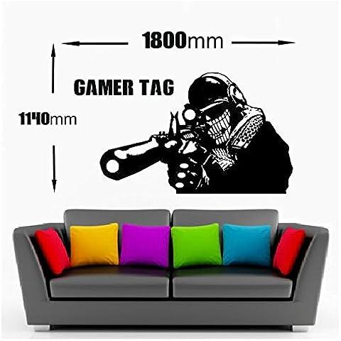 Call of Duty de pared Art francotirador/Tirador + Gamer etiqueta XBOX PS3 28 Color de elecciones (negro) (1800 mm x 1140 mm)
