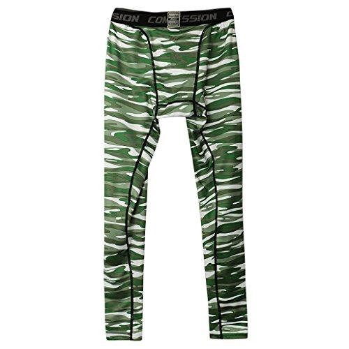 (MagiDeal Männer Leggings lang Unterhose Unterwäsche Strumpfhose Herren leggings Hose - grün, XXL)