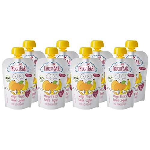 FruchtBar Bio Fruchtpüree Mango-Pfirsich-Banane-Joghurt, im Quetschbeutel, 8x100g