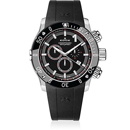 Edox Men's CO-1 45mm Rubber Band Steel Case Swiss Quartz Watch 10221 3 NIN