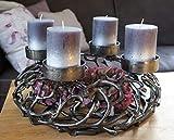 Kunstversteck Designer Adventskranz Kerzenleuchter Dark-metallic, zum Befüllen und Dekorieren Kerzenhalter Weihnachten