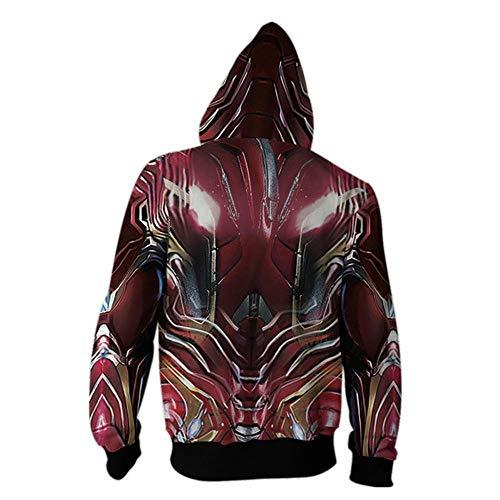 RJHWY 3D Hoodie Sweatshirt Unisex Pullover Kapuzenjacke Kleidung Mantel Reißverschluss Iron Man S