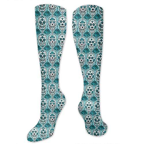 ouyjian Türkis Sugar Skulls Frauen & Männer Socken Kleid Socken Länge 19.7in / Breite 3.4in Polyester Material