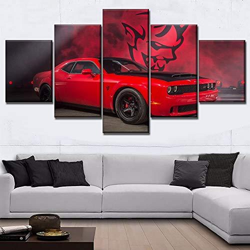 mmwin Modernes Bild Home Decoration Red Muscle Car Dodge Challenger Wandkunst PrintPoster Modulares Wohnzimmer - Herr Der Komplette Ringe Sammlung