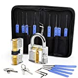 Lock Pick Set, Eventronic 17-Piece Lock Picking Tools with 2 Clear Practice and Training Locks for Lockpicking, Extractor Tool for Beginner and Pro Locksmiths